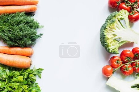 Photo for Borders of colorful dill, parsley, carrots, broccoli and tomatoes on white background - Royalty Free Image