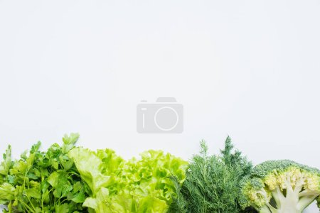 Photo for Border of fresh green parsley, dill, broccoli and lettuce isolated on white - Royalty Free Image