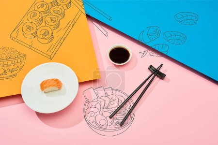 Photo for Top view of fresh nigiri with salmon near soy sauce, chopsticks and sushi illustration on blue, pink and orange background - Royalty Free Image