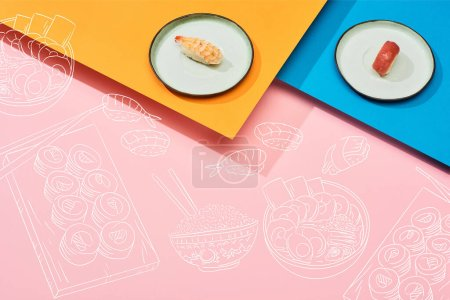 Photo for Fresh nigiri with tuna and shrimp near illustration on blue, pink, orange surface - Royalty Free Image
