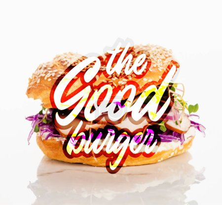 Photo for Fresh bagel with meat, red onion, cream cheese, sprouts near the good burger lettering on white background - Royalty Free Image