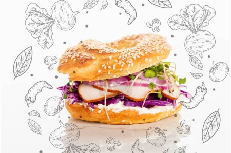 Photo for Fresh bagel with meat, red onion, cream cheese, sprouts near vegetables illustration on white - Royalty Free Image
