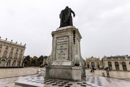 Bronze statue of Stanislaw Leszczynski in the Place Stanislas of Nancy, France. A World Heritage Site since 1983