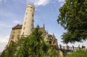 Lichtenstein Castle (Schloss Lichtenstein), a palace built in Gothic Revival style overlooking the Echaz valley near Honau, Reutlingen, in the Swabian Jura of southern Germany
