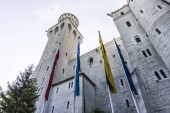 Schloss Neuschwanstein (New Swanstone Castle), a 19th-century Romanesque Revival palace commissioned by Ludwig II of Bavaria near Fussen, Germany