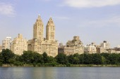 New York City. The Eldorado, also called Central Park Twin Towers, at 300 Central Park West on the Upper West Side of Manhattan, seen across Jacqueline Kennedy Onassis Reservoir