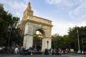 New York City. The Washington Square Arch, a marble triumphal arch built in 1892 in the Greenwich Village neighborhood of Lower Manhattan