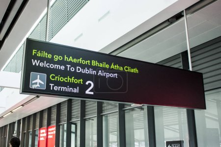 Bilingual signs in Irish and English at Dublin Airport (Aerfort Bhaile Atha Cliath), Republic of Ireland