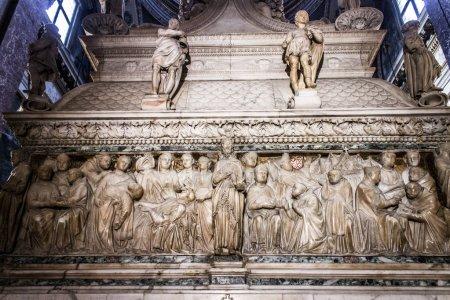 The Ark of Saint Dominic, a Renaissance sarcophagus containing his remains made by Nicola Pisano, Niccolo dell'Arca and Michelangelo. Basilica di San Domenico, Bologna