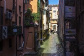 The Canale delle Moline, one of the remaining canals of the city of Bologna, Italy