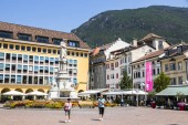 The Piazza Walther in Bolzano-Bozen, Italy, with the monument to Walther von der Vogelweide, a composer of love and political songs in Middle High German