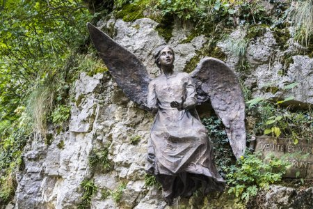 Statue of an angel in the Sanctuary of the Madonna della Corona, a Marian shrine in Ferrara di Monte Baldo, province of Verona, Veneto, Italy