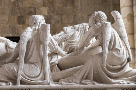 Recumbent effigy of the Tomb of Peter I of Portugal, called the Just or the Cruel, a gothic sculpture of unknown authorship. Alcobaca Monastery, Portugal