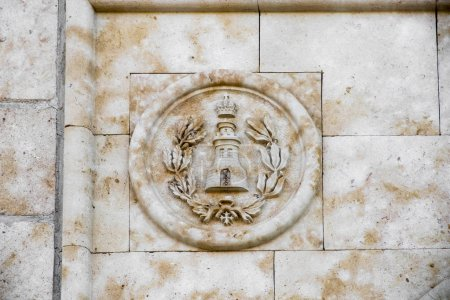 Peleas de Arriba, Spain. Emblem of the Military Engineer Corps of the Spanish Army, in the former site of the Monastery of Valparaiso and birthplace of King Ferdinand III of Castile