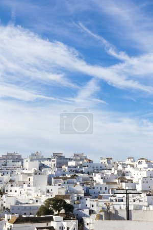 Vejer de la Frontera, Spain. A Spanish hilltop Pueblo Blanco (White Town) in the province of Cadiz, Andalusia. Vertical panorama and urban landscape