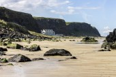 Benone Strand, also called Downhill Beach, a large sand strand in Castlerock, Derry County, Northern Ireland