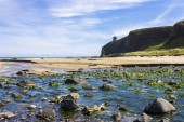 The iconic Mussenden Temple on top of the cliffs of Downhill Beach. Castlerock, Derry County, Northern Ireland