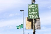 Derry, Northern Ireland. A Brits Out Now IRA sign in Bogside neighbourhood