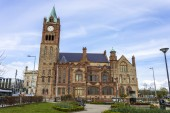 The Guildhall, a building built in 1890 in which the elected members of Derry and Strabane District Council meet. Derry, County Londonderry, Northern Ireland