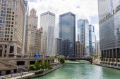 35 East Wacker (Jewelers' Building), Kemper Building, Leo Burnett Building, 77 West Wacker Drive (United Building), Chicago River and Trump International Hotel and Tower. Chicago, Illinois