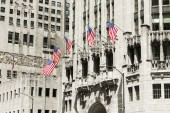 American flags in Tribune Tower. Chicago, Illinois