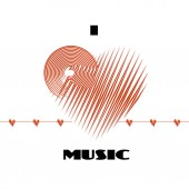 I love music abstract poster label isolated on white background with cardio heart wave deflection CD-disk and heart red logo graphic design element Vector illustration for your print