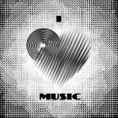 I love music abstract poster monochrome label on dirty grunge halftone background CD-disk and heart logo graphic design element Vector illustration
