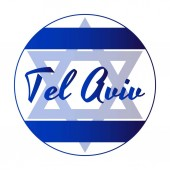 Round button Icon of national flag of Israel with blue David star and inscription of city name: Tel Aviv in modern style Vector EPS10 illustration