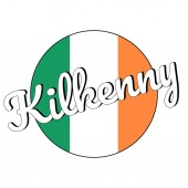 Round button Icon of national flag of Ireland with green white and orange colors and inscription of city name Kilkenny lettering for logo banner t-shirt print Vector EPS10 illustration