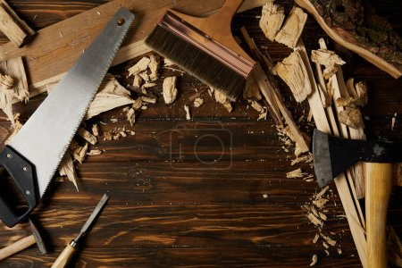 elevated view of different tools and wooden pieces on tabletop