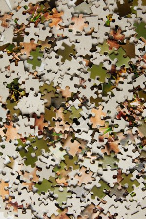 top view of jigsaw puzzle pieces background