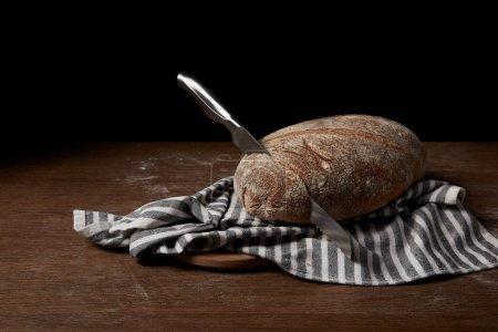 Photo pour Gros plan image de pain, sac, couteau et la planche à découper sur la table - image libre de droit