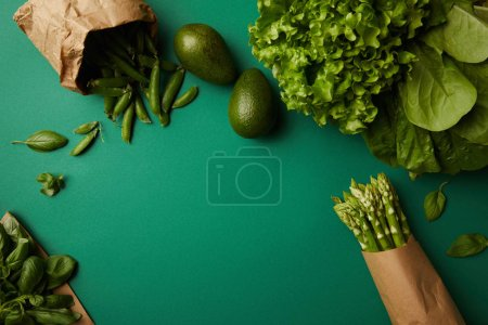 top view of different green ripe vegetables on green surface
