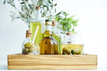 Photo pour Verre avec cuillère et olives vertes, bocal, diverses bouteilles d'huile d'olive aromatique et branches sur plateau en bois - image libre de droit