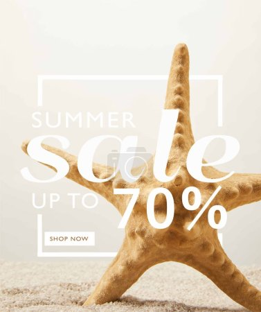 close up view of sea star on sand on grey background with summer sale discount