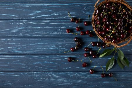 top view of ripe cherries in basket on blue wooden surface