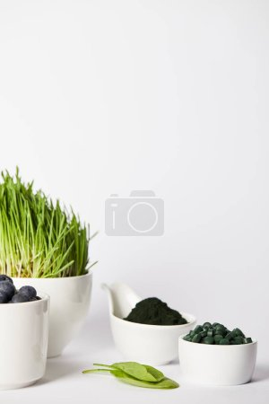 close up view of cups with spirulina grass and blueberries, leaves, bowls with spirulina powder and spirulina pills on grey background