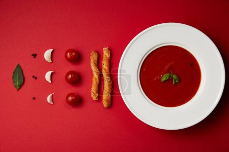 flat lay of tomato soup in plate and spices, vegetables with bread sticks on red table