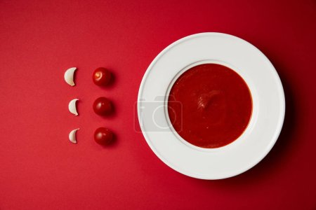 food styling of tasty tomato soup in plate with fresh garlic and tomatoes on red table