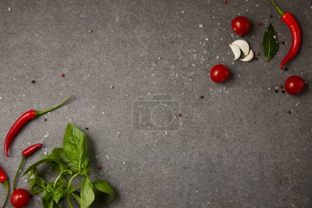 top view of chili peppers, tomatoes, garlic and scattered spices on grey table