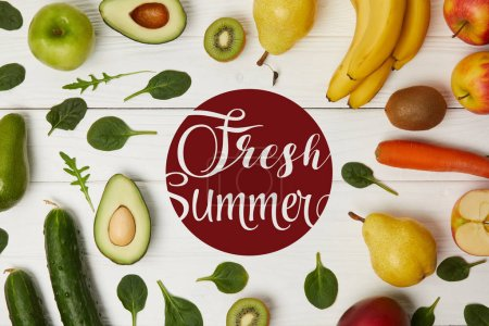 Photo for Top view of fruits and vegetables on wooden background with copy space, fresh summer inscription - Royalty Free Image