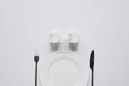 Photo pour Vue du dessus de la plaque, fourchette, couteau, salière et poivrière sur table blanche, concept minimaliste - image libre de droit