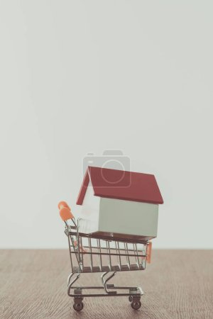 small wooden house on supermarket cart, saving concept