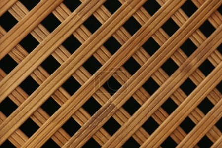 Photo for Design of wooden crossed wall planks background - Royalty Free Image