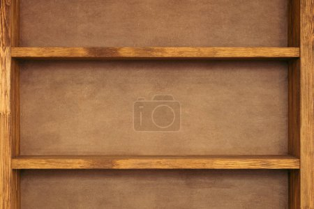 close-up view of empty wooden shelves background