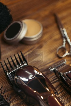 selective focus of set of barber tools, close-up view