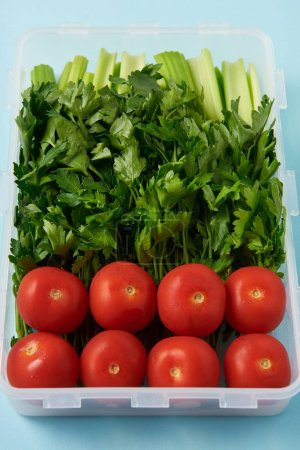 close up view of food container full of fresh tomatoes, parsley and celery on blue background