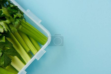 Photo for Top view of food container full of healthy parsley and celery isolated on blue - Royalty Free Image