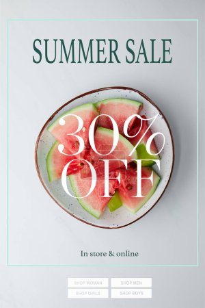 top view of fresh watermelon pieces in bowl on white tabletop with summer sale and 30 percents discount