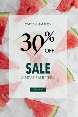 juicy watermelon slices lying on ice cubes with sale and 30 percents discount symbol